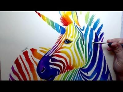 [ Zebracorn ] Rainbow Watercolor Time Lapse Painting