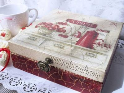 Crackle paint technique tutorial. Decoupage box with napkin and transparent, colour crackle varnish