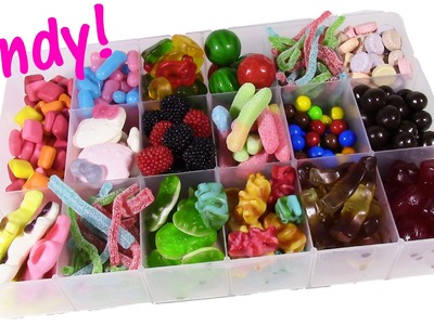 DIY CANDY Survivor BOX! Gumballs Swirly Gummy Candy Chocolate Sixlets Hello Kitty Pez! Sweets Review