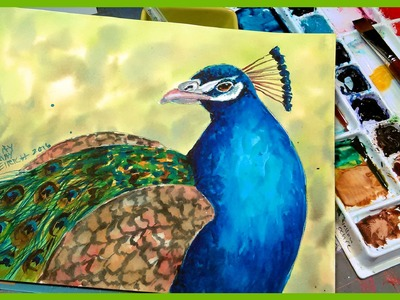 LIVE Peacock in Watercolor Painting Tutorial 12:30pm ET