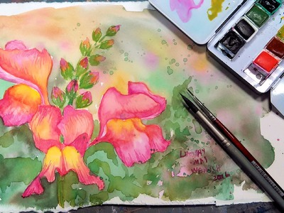 LIVE Snapdragon in Watercolor Tutorial 12:30pm ET