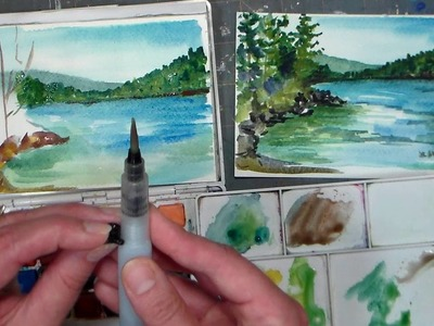 Pond Scene Beginner Watercolor Tutorial {Real time)
