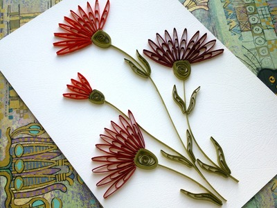 Quilling Flowers Tutorial: Quilling flowers carnation wiht  a comb tutorial. Quilling Card.