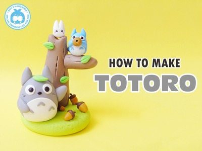 Totoro clay tutorial - Totoro tree kawaii clay - handmade by Boo