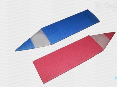 "DIY: Simple Origami ""Pencil"" Bookmark (Easy) -Paper Art   Happy Teacher's Day"