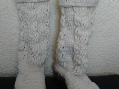 Botas  blancas largas en crochet parte 1