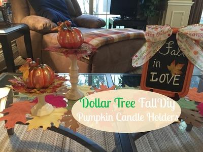 DOLLAR TREE FALL DIY   Pumpkin Candle Holders   2016