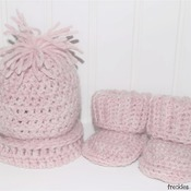Wool Pullover Sweater with Matching Beanie and Booties: Baby Girl 0-3 months (shown)- Blush Heather Pink (Set)