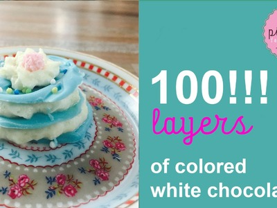 100 LAYERS !!! of Colored White Chocolate | Pink Pie Factory | Lara-Marie |  DIY Miniature Version