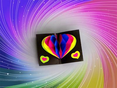 DIY CARD 3D HEART. DIY POP UP CARD RAINBOW HEART (tutorial). DIY CARD.