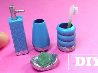 DIY Miniature Bathroom Accessory Set: Soap Dispenser, Toothpaste Holder, Soap dish