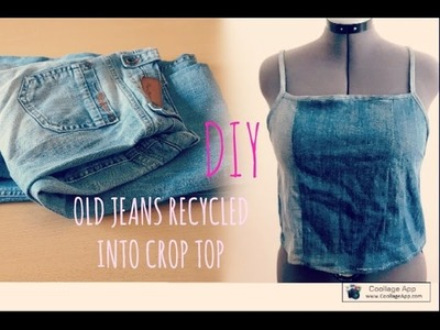 DIY OLD JEANS RECYCLED INTO CROPTOP ll