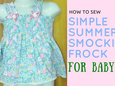 How to Sew Smocking Frock for Baby | DIY - Make shirring Dress for Toddlers