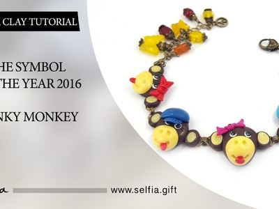 "Polymer Clay Tutorial: DIY How to make ""Funky Monkey"" for jewelery set. FREE Video 