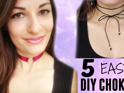 5 EASY DIY Chokers -Kendall Jenner Inspired- How to make Choker Necklaces -Zero Dollar Challenge