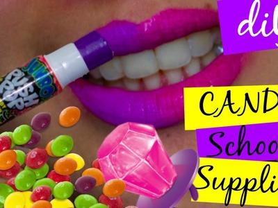 DIY CANDY SCHOOL SUPPLIES.push pop glue stick.ring pop eraser.skittles paper clips