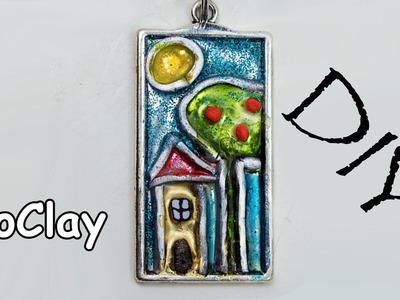 DIY Enamel silver pendant - Liquid polymer clay and alcohol ink