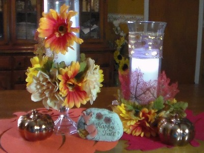 DIY Fall candle holders & table runner