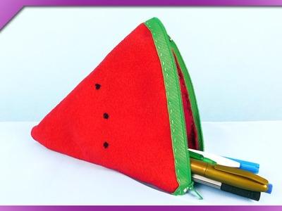 DIY Felt pencil case, watermelon (ENG Subtitles) - Speed up #249