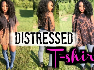 Easy DIY Bleached Distressed Tshirt | Lace Up Tshirt | Yeezy Inspired | #LisaDIY