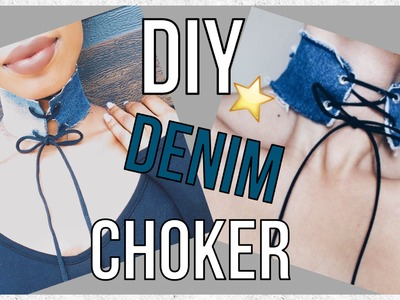 EASY DIY DENIM CHOKER! ♡