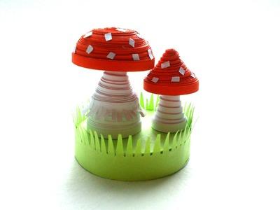 Quilling Tutorial 3D: Quilling miniature Fungus 3D, DIY Quilling 3D Designs
