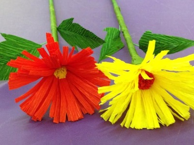 How to Make Daisy Crepe Paper Flowers - Flower Making of Crepe Paper - Paper Flower Tutorial