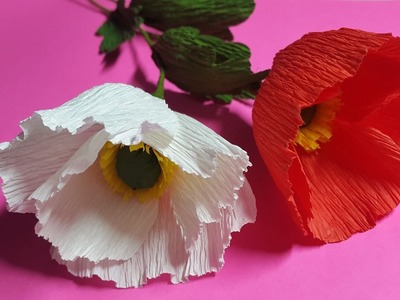 How to Make Poppy Crepe Paper Flowers - Flower Making of Crepe Paper - Paper Flower Tutorial