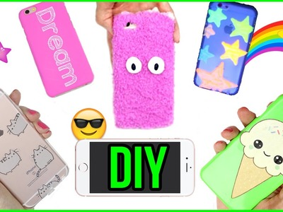 5 DIY Phone Case Designs! How To Make Pusheen, Kawaii, Glow in the Dark & More-Easy Phone Cover DIYs
