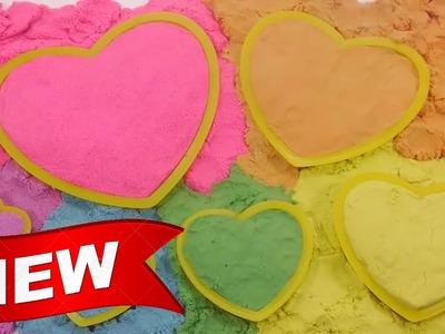 DIY Slime ★ Colors Kinetic Sand Heart Learn Colors Slime Clay Glitter Powder
