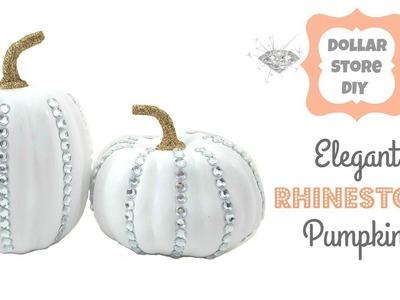 DOLLAR STORE DIY ~ Elegant Rhinestone Pumpkins ~ Fall Home Decor
