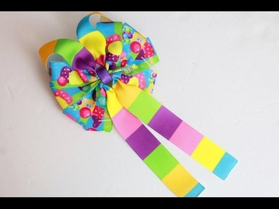 Let's make a bow! Candy Land hairbow tutorial (DIY 10 loop BOW)