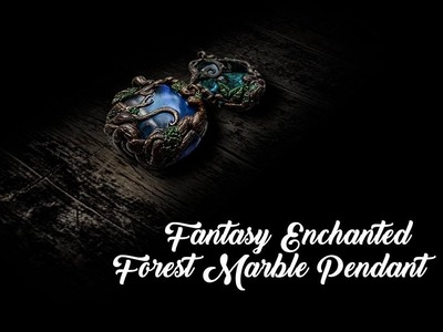 Polymer Clay Pendant | Fantasy Enchanted Forest marble Pendant DIY | Clay Jewelry Tutorial