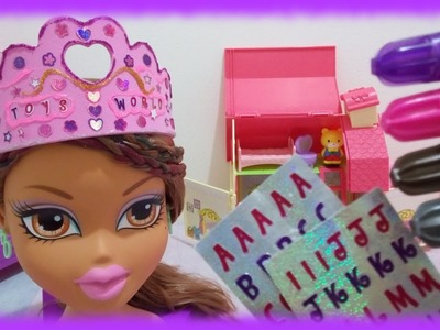Melissa and Doug DIY Princess Tiara on Bratz Yasmin Styling Head Doll ♥ Toys World Video
