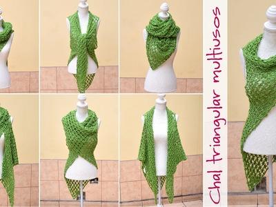 Chal con sisas triangular multiusos tejido en nudo salomon a crochet. English subtitles!