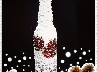 Decoupage Christmas bottle with snow and pinecones DIY ideas decorations craft tutorial. URADI SAM