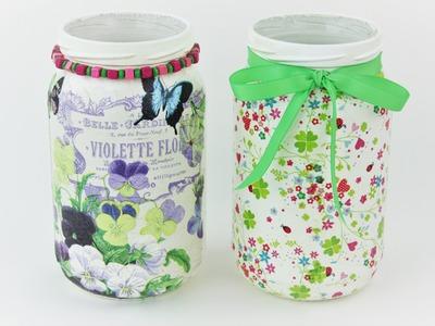 Decoupage jars - Easy Tutorial - DIY