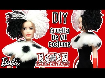 Disney Villains Cruella De Vil Costume for Barbie Doll - DIY Barbie Dress Easy Tutorial
