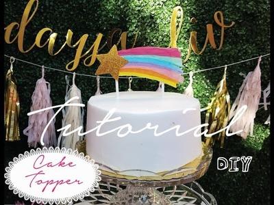 DIY | How to make Meri Meri Rainbow Shooting Star Cake Topper Easy Tutorial | Lucky In Style 2016