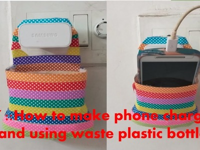 DIY:: How to make phone charger stand using waste plastic bottle !!