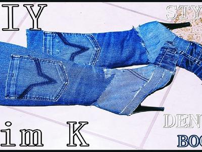 DIY || Kim Kardashian Inspired Denim Boots