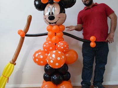 Halloween Minnie Mouse Balloon Column tutorial   DIY Minnie Balloon Decoration Idea