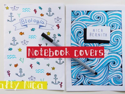 How to DECORATE NOTEBOOKS. DIY Notebook cover ideas || Sea-inspired drawings