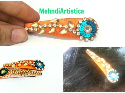 Silk Thread Hair Clips DIY For Party:Beautiful Hairclip Making Idea For Home(Simple Time Lapse)