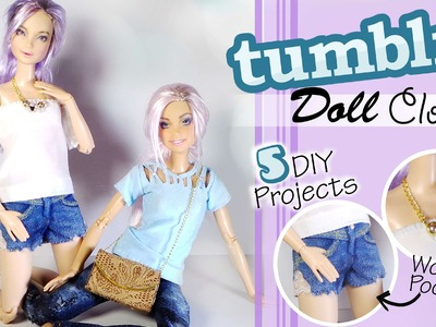 Tumblr Inspired Doll.Barbie Clothes (5 Projects). DIY Dolls.Dollhouse