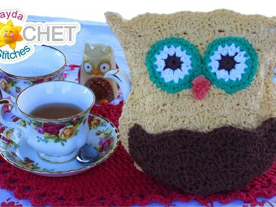 Crochet Owl Tea Cozy Pattern - Learn the Scallop Stitch!