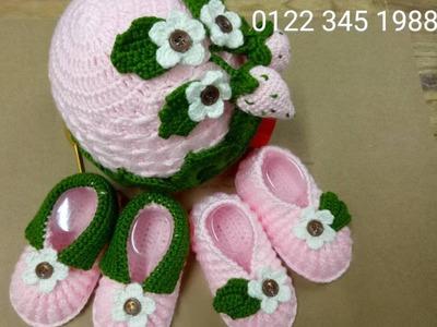 How to crochet baby booties strawberry. Móc mẫu giày dâu tây p2