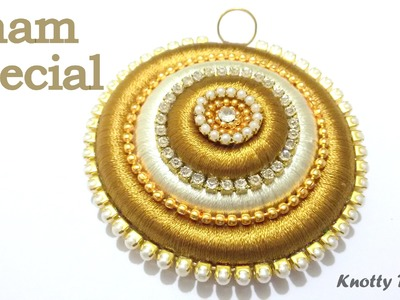 Onam Special : How to make a Pendant using Silk Thread at Home | Tutorial
