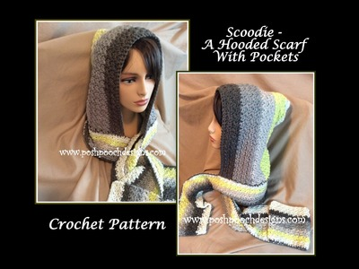 Scoodie - Hooded Scarf With Pockets Crochet Pattern