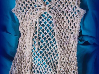 Tutorial de chaleco calado en crochet con flecos  Video 1 de 2